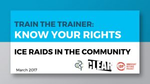Train the Trainer: Know Your Rights Ice Raids in the Community